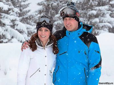 Герцогиня Кембриджская и принц Уильям на горнолыжном курорте